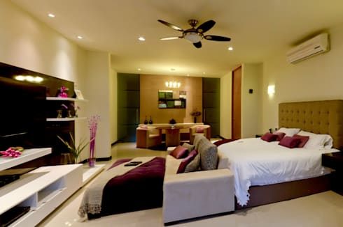 Residencia 41BJ : Recámaras de estilo moderno por r79