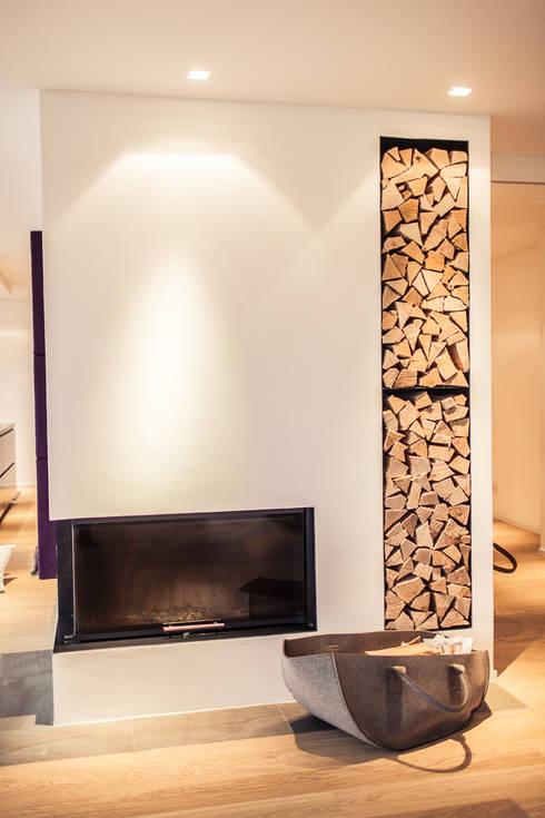 Renovierung einer Villa am Stadtrand von Salzburg zu einem luxuriösen Wohn-Loft (Foto: Florian Stürzenbaum):  Wohnzimmer von Meissl Architects ZT GmbH