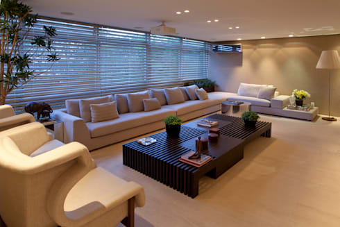 Apartamento Asa Sul Brasília 2013: Salas de estar modernas por Elaine Vercosa