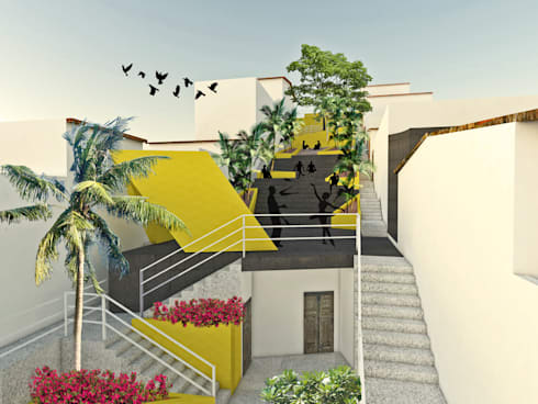 Plaza Josefa Ortiz: Jardines de estilo moderno por Taller/MT