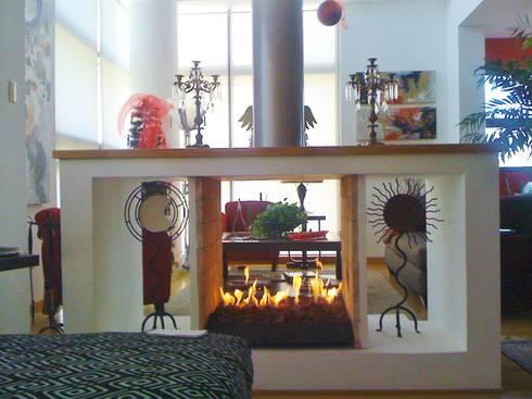 Chimeneas: Salas de estilo moderno por CHIMENEAS JAHEZA