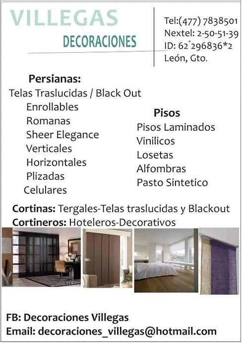 Persianas y pisos para todos los espacios: Hogar de estilo  por Decoraciones villegas