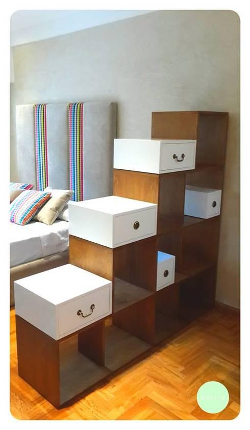 Cómodas, mesitas de luz y percheros: Dormitorios de estilo moderno por michelleimar