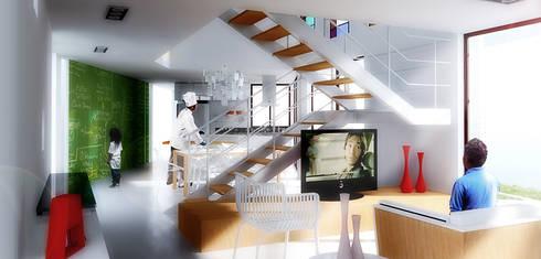 Casa S: Salas de estar minimalistas por Rede Arquitetos