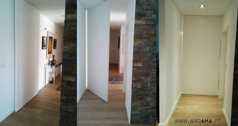 SCANDINAVIAN HOUSE PROJECT: Corredores e halls de entrada  por ARQAMA - Arquitetura e Design Lda