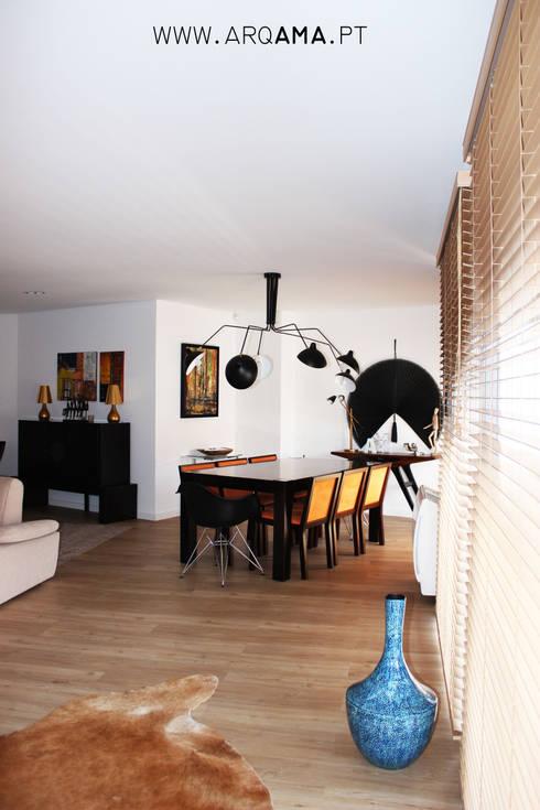 SCANDINAVIAN HOUSE PROJECT: Salas de jantar  por ARQAMA - Arquitetura e Design Lda