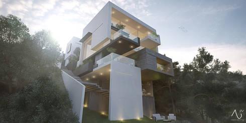 Vista Posterior: Casas de estilo minimalista por 21arquitectos