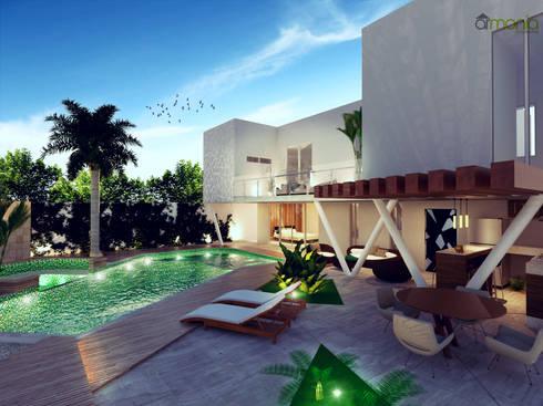 Piscina: Albercas de estilo moderno por Armonía arquitectos