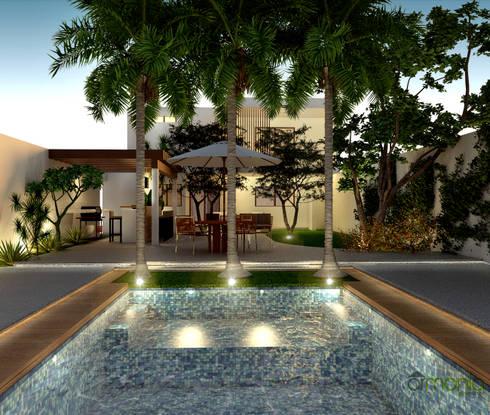 Alberca: Albercas de estilo moderno por Armonía arquitectos