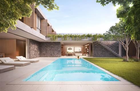 Casa H Piscina: Piscinas minimalistas por Mader Arquitetos Associados