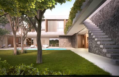 Casa H Jardim: Jardins minimalistas por Mader Arquitetos Associados