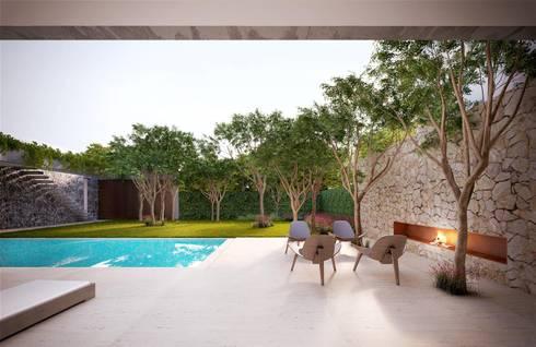 Casa H Fireplace: Jardins minimalistas por Mader Arquitetos Associados