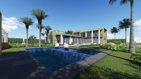 residencia en nvo. Vallarta Nayarit: Casas de estilo moderno por unounoarquitectos