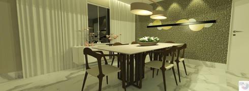 O living da Atriz: Salas de jantar modernas por Rangel & Bonicelli Design de Interiores Bioenergético