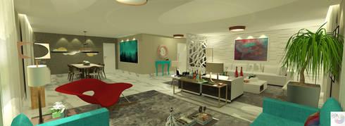 O living da atriz: Salas de estar modernas por Rangel & Bonicelli Design de Interiores Bioenergético