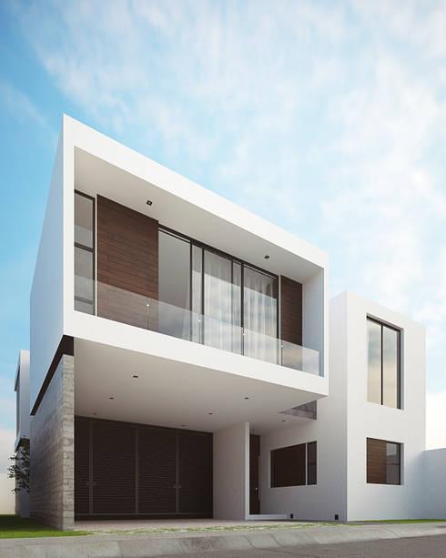 Fachada Principal Lateral: Casas de estilo minimalista por RTstudio