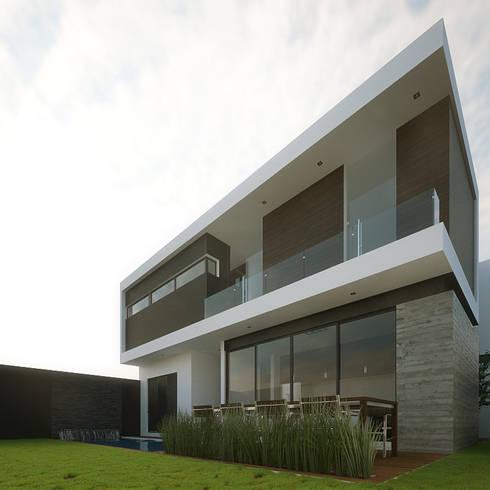 Fachada Posterior Lateral: Casas de estilo minimalista por RTstudio