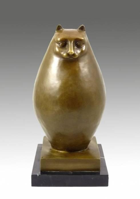 Modern Sculpture- Big chubby cat- signed, Botero:  Artwork by Art Bronze Sculptures