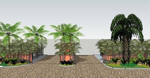 INGRESO A FRACCIONAMIENTO: Jardines de estilo topical por Tropico Jardineria