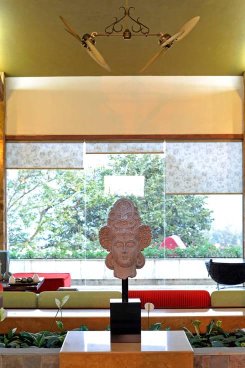 Lonavla Bungalow: asian Living room by JAYESH SHAH ARCHITECTS