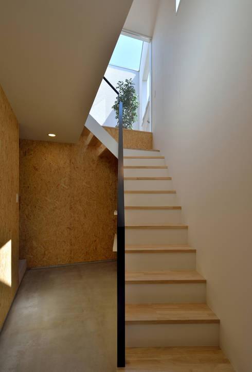 空へとつづく階段: 株式会社ブレッツァ・アーキテクツが手掛けた廊下 & 玄関です。