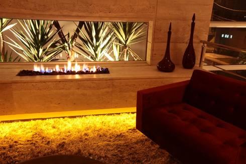 SALA LAREIRA ECOLOGICA: Sala de estar  por Leticia Prodocimo - LPA ARQUITETURA