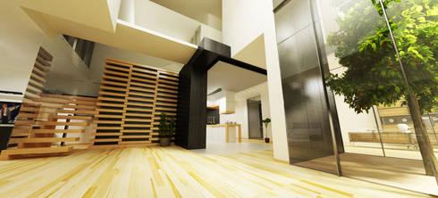 Casa N+V: Corredores e halls de entrada  por GAUDIprojectos