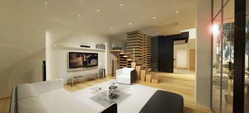 Casa N+V: Salas de estar minimalistas por GAUDIprojectos