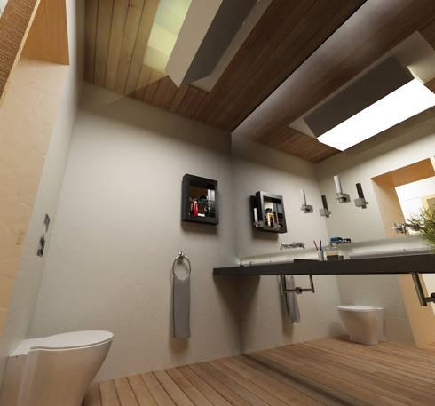 Casa N+V: Casas de banho minimalistas por GAUDIprojectos