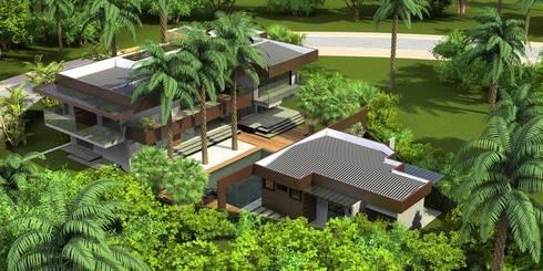 Perspectiva geral: Casas tropicais por Simone Flores Arquitetos & Associados