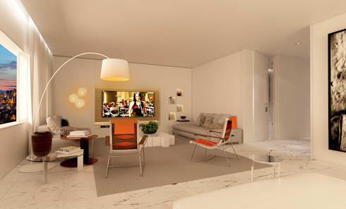 residência CFR: Salas de estar minimalistas por Studio Marcio Michaluá