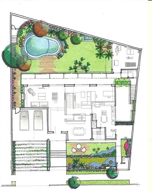 Implantação Geral: Jardins tropicais por HZ Paisagismo
