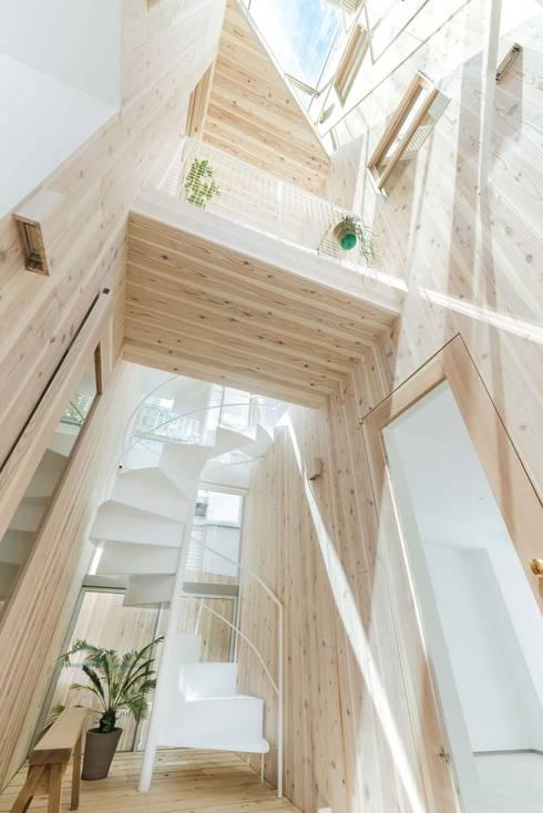木の吹抜とトップライト: ディンプル建築設計事務所が手掛けた廊下 & 玄関です。