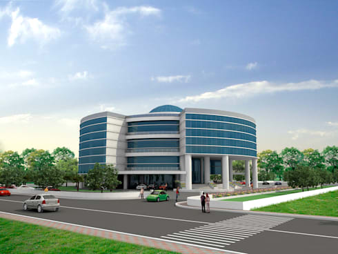 Road Side View:  Office buildings by Sthaptya Vishwa Project Consultants