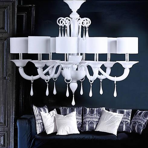 Lampadario in vetro di Murano ? lampadario moderno in vetro bianco ...