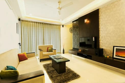 2BHK Residence: modern Living room by INTERIOR WORKS