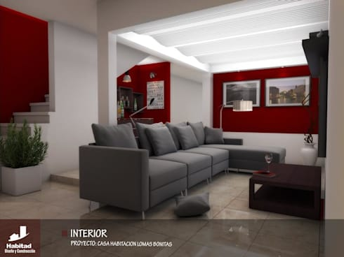 Casa Habitación Lomas Bonitas: Salas de estilo moderno por Habitad Diseño y Construccion