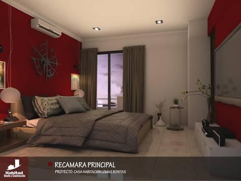 Casa Habitación Lomas Bonitas: Recámaras de estilo moderno por Habitad Diseño y Construccion