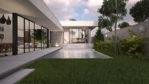 Casa Silveira: Albercas de estilo moderno por TNGNT arquitectos