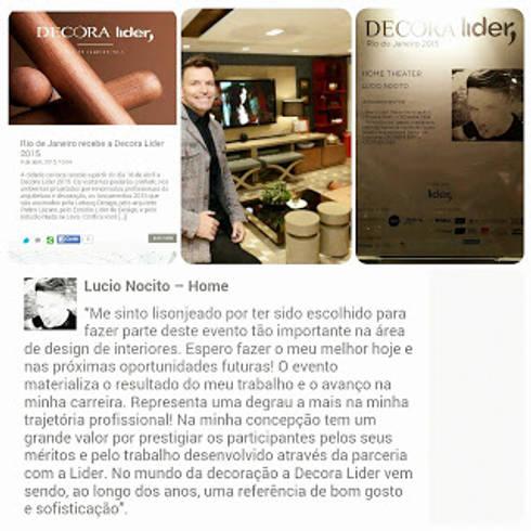 Um pouco mais sobre a mostra.: Sala de estar  por Lucio Nocito Arquitetura e Design de Interiores