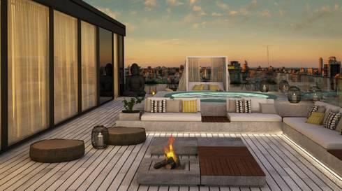 Penthouse em Lisboa: Terraços  por DZINE & CO, Arquitectura e Design de Interiores