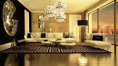 Living Room: Salas de estar ecléticas por DZINE & CO, Arquitectura e Design de Interiores