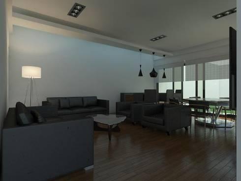 Casa Pachuca A-1: Salas de estilo moderno por CELE disseny