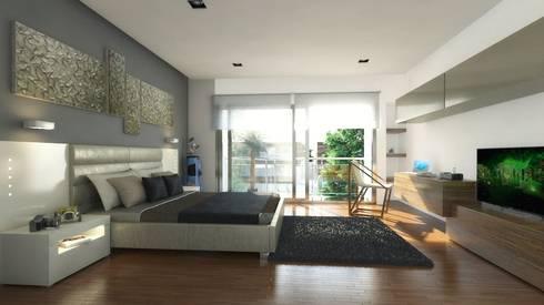 Casa Pachuca A-1: Recámaras de estilo moderno por CELE disseny