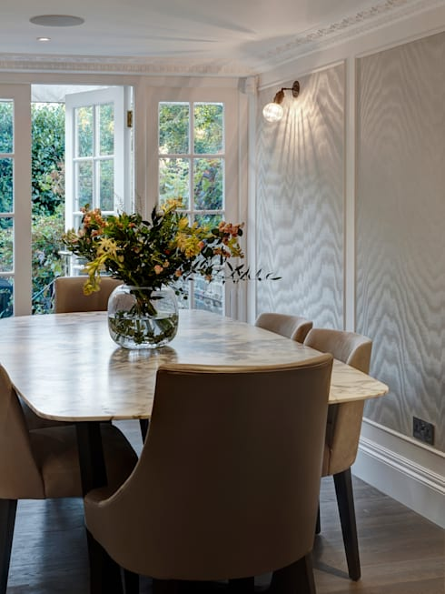 Fulham:  Dining room by Rebecca James Studio