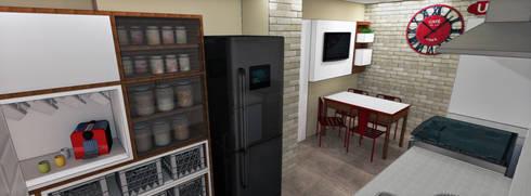 Apartamento Brooklin Paulista: Cozinhas rústicas por Studio Meraki Arquitetura e Design