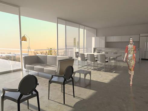 Casa CB125: Salas de estilo moderno por Velazco & Rodriguez