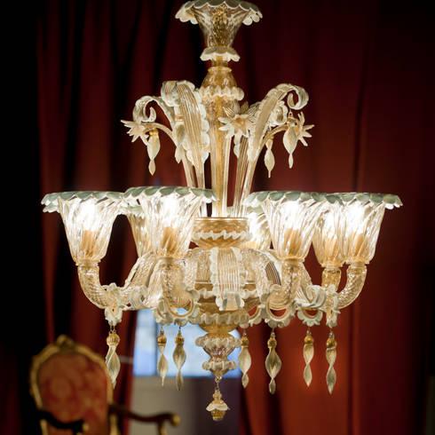 Lampadario in vetro di Murano - lampadario classico in vetro dorato ...