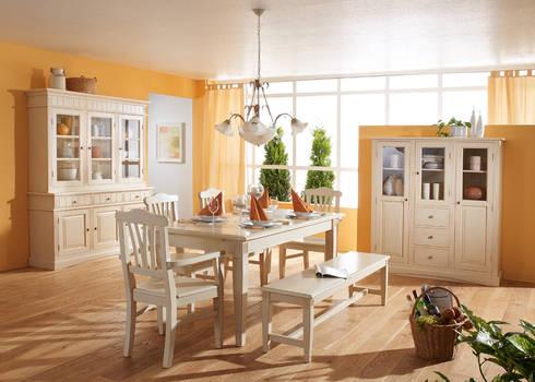 Esszimmer Komplett Landhausstil Lara Holz Massiv Weiß Gewischt: Landhausstil  Esszimmer Von Möbel Wohnbar