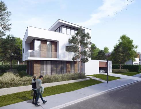 entree/woonkamergevel: Vrijstaand woonhuis voor Elisabeth & Hugo:   door Archivice Architektenburo